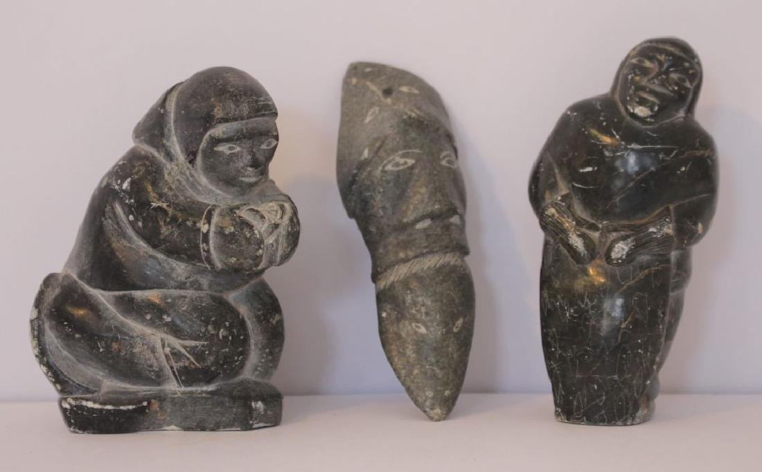 Lot of 3 Inuit carved soapstone figural carvings - sgnd