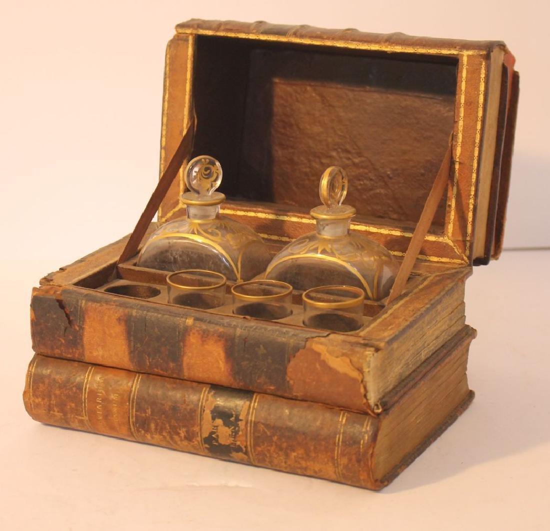 ca 1820 book form tantalus set w 2 bottles & 3 glasses