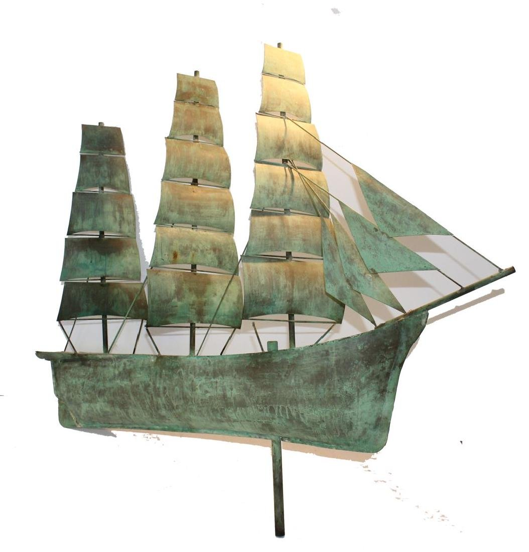 Great antique copper clipper ship weathervane in old