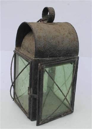 "Antique lantern w green glass - 15"" tall - electrified"