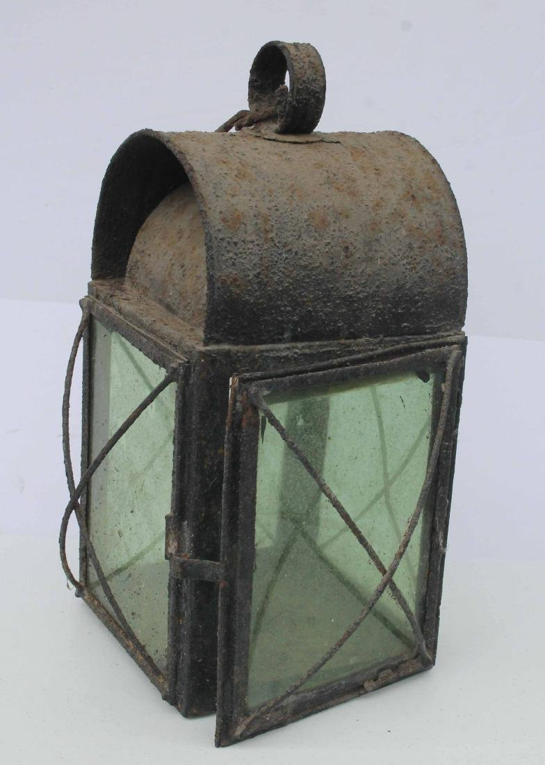 "Antique lantern w green glass - 15"" tall - electrified"