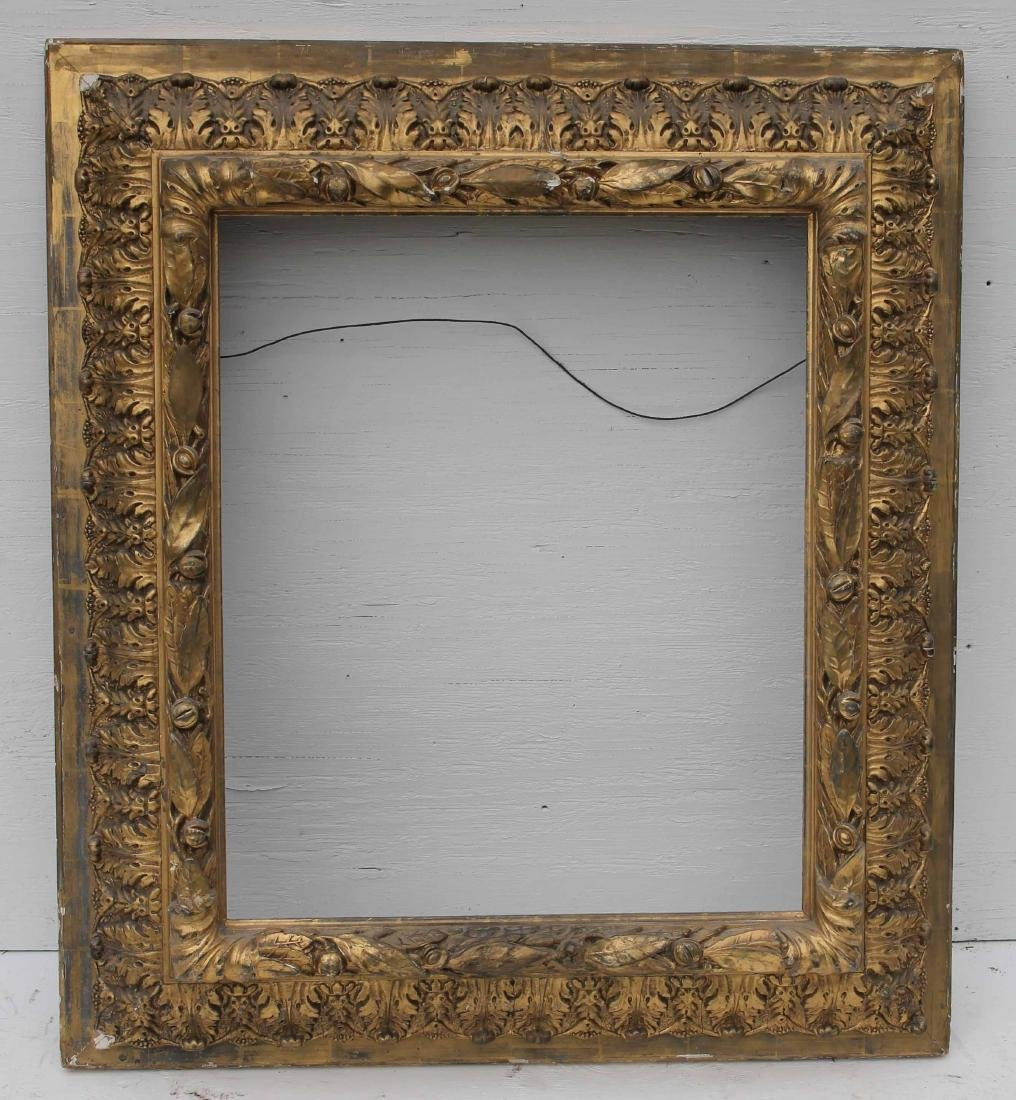 """mid 19thC beautifully carved gold leaf frame - 37""""x33"""""""