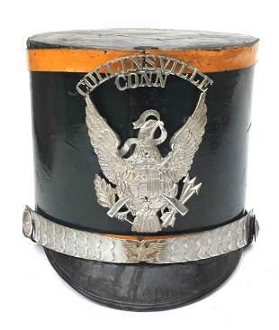 "19thC black leather Collinsville, Conn Shako - 8"" tall"