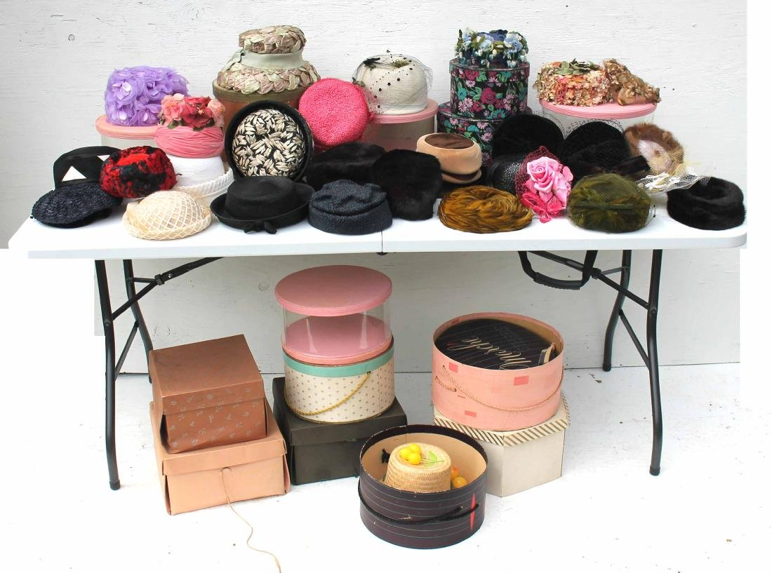 lg lot of vintage lady's hats(ca 1940's-70's), some w