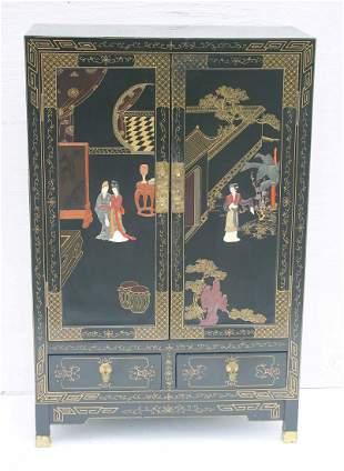Asian motif laquered 2 door over 2 drawer cabinet w