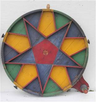 "Folk Art multi color game painted wheel - 35"" diam"