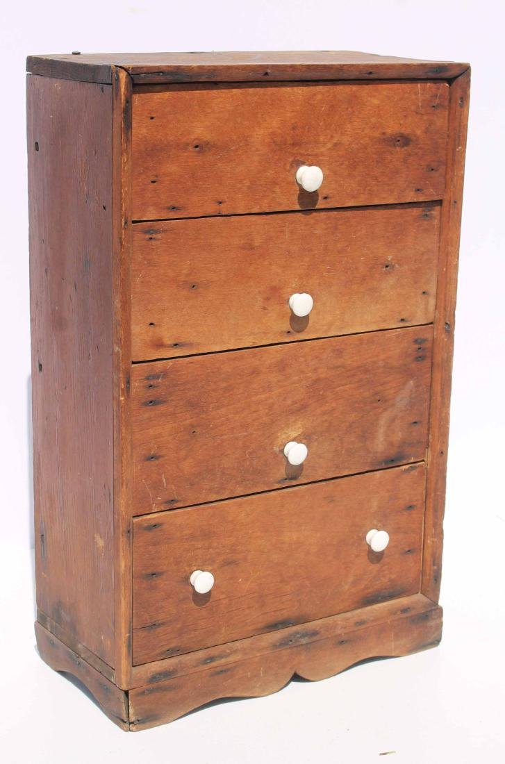 Early 19th C 4 dr mini chest pine & cherry,