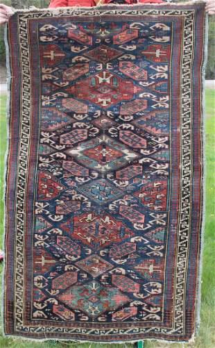 """Antique Caucasian 3'7""""x 6' Oriental rug"""