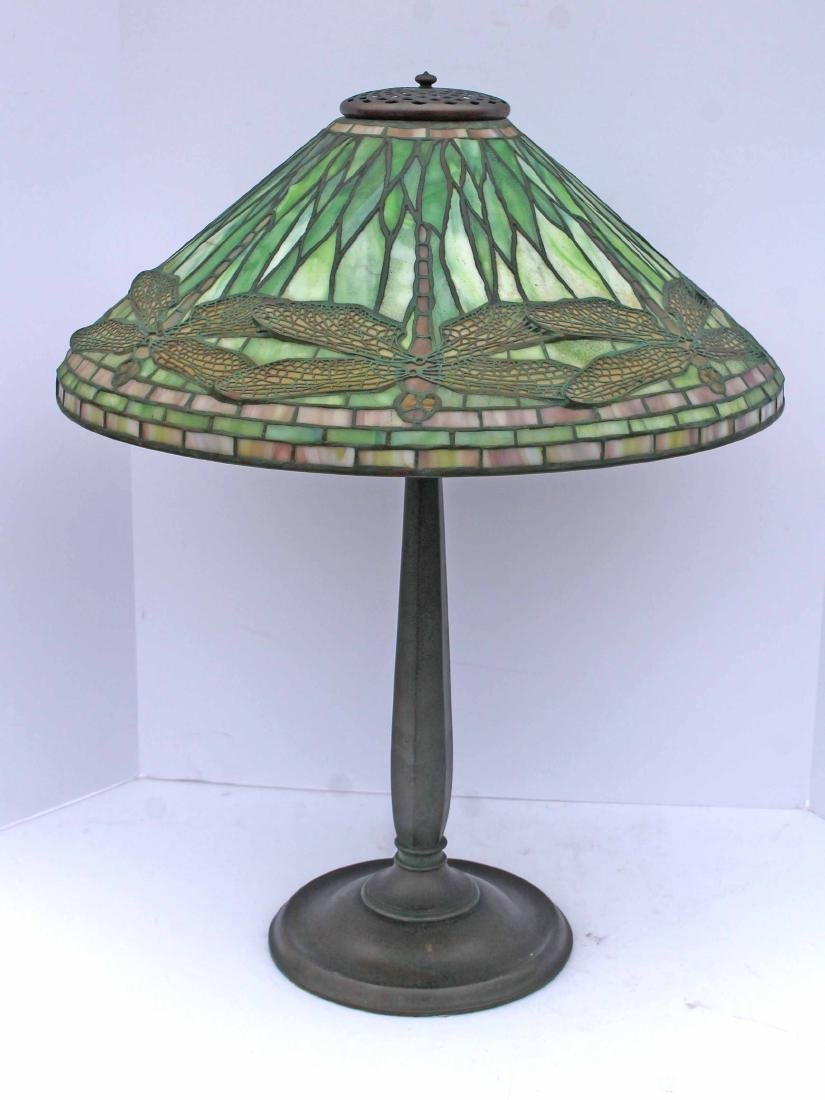 """Important fully sgnd Tiffany dragonfly leaded glass 20"""""""