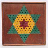 Early 20thC game board in laminated wood applied
