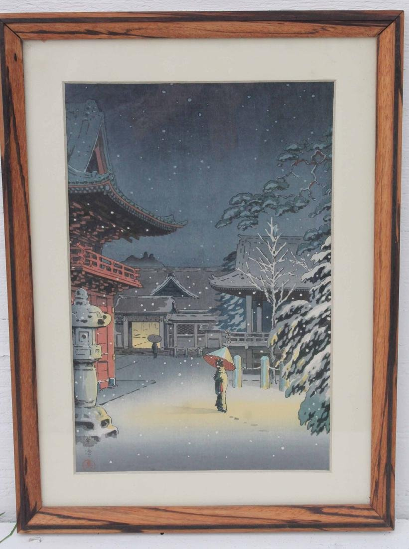 Japanese woodblock print by Koitsu Nezu Shrine in Snow