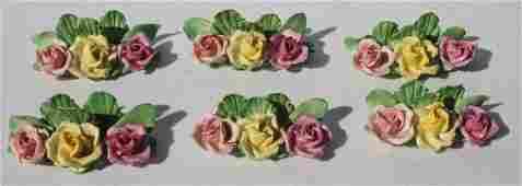 Set of 6 porcelain floral place card holders