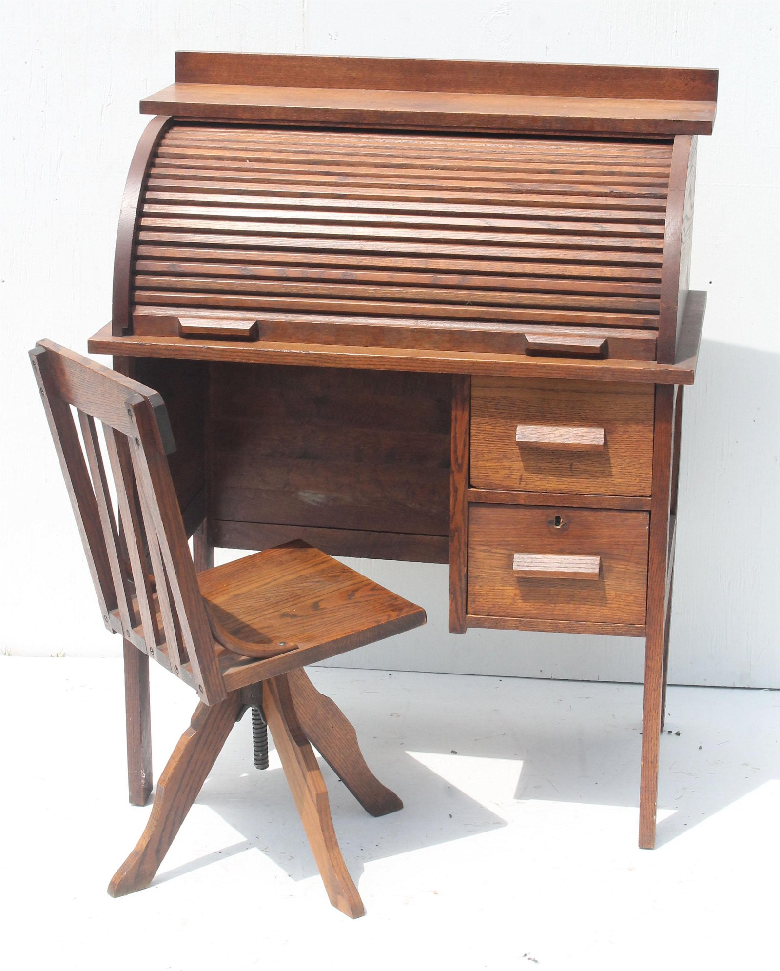 antique child's oak rolltop desk with chair made by