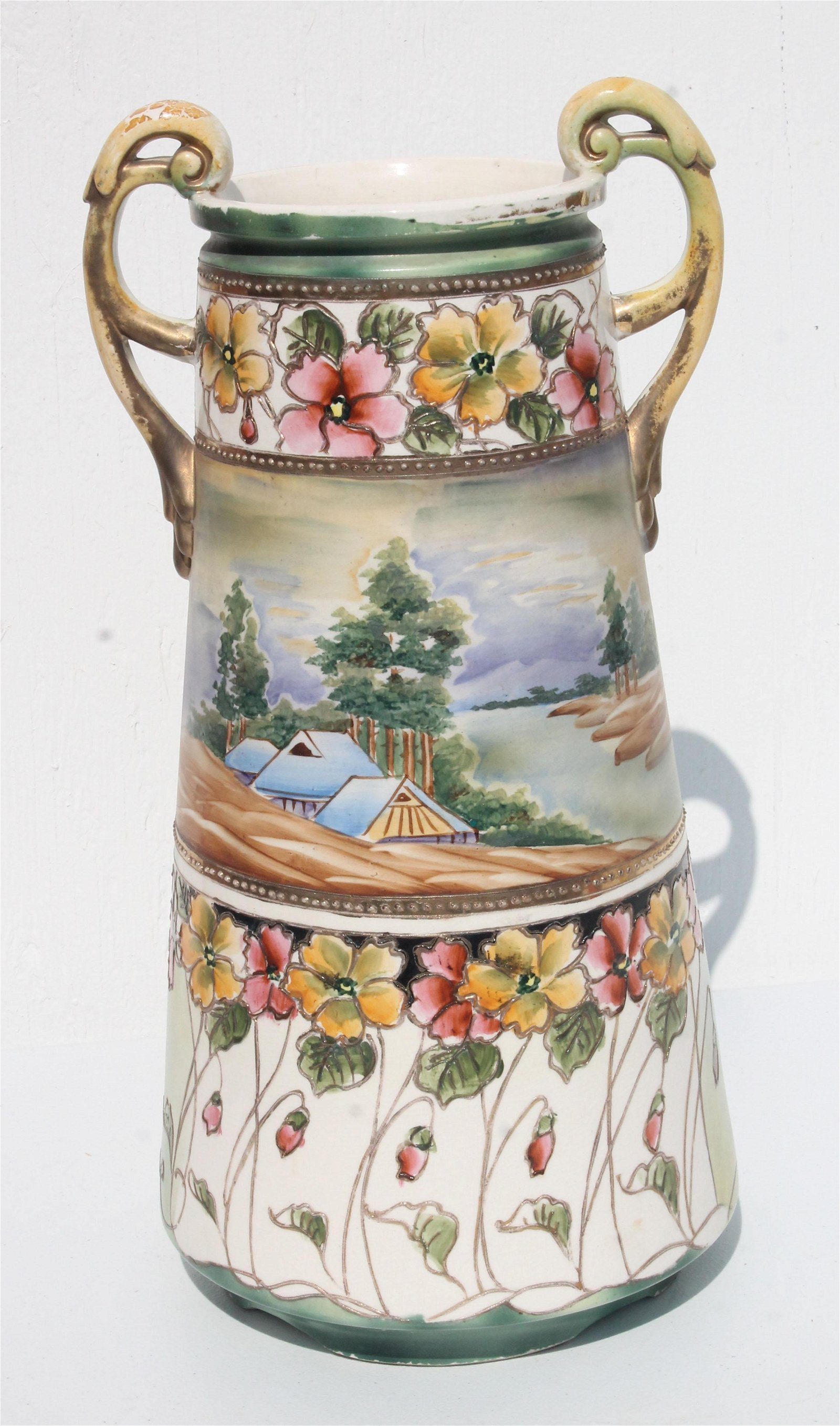 Signed Nippon hand painted scenic two handled vase - 16