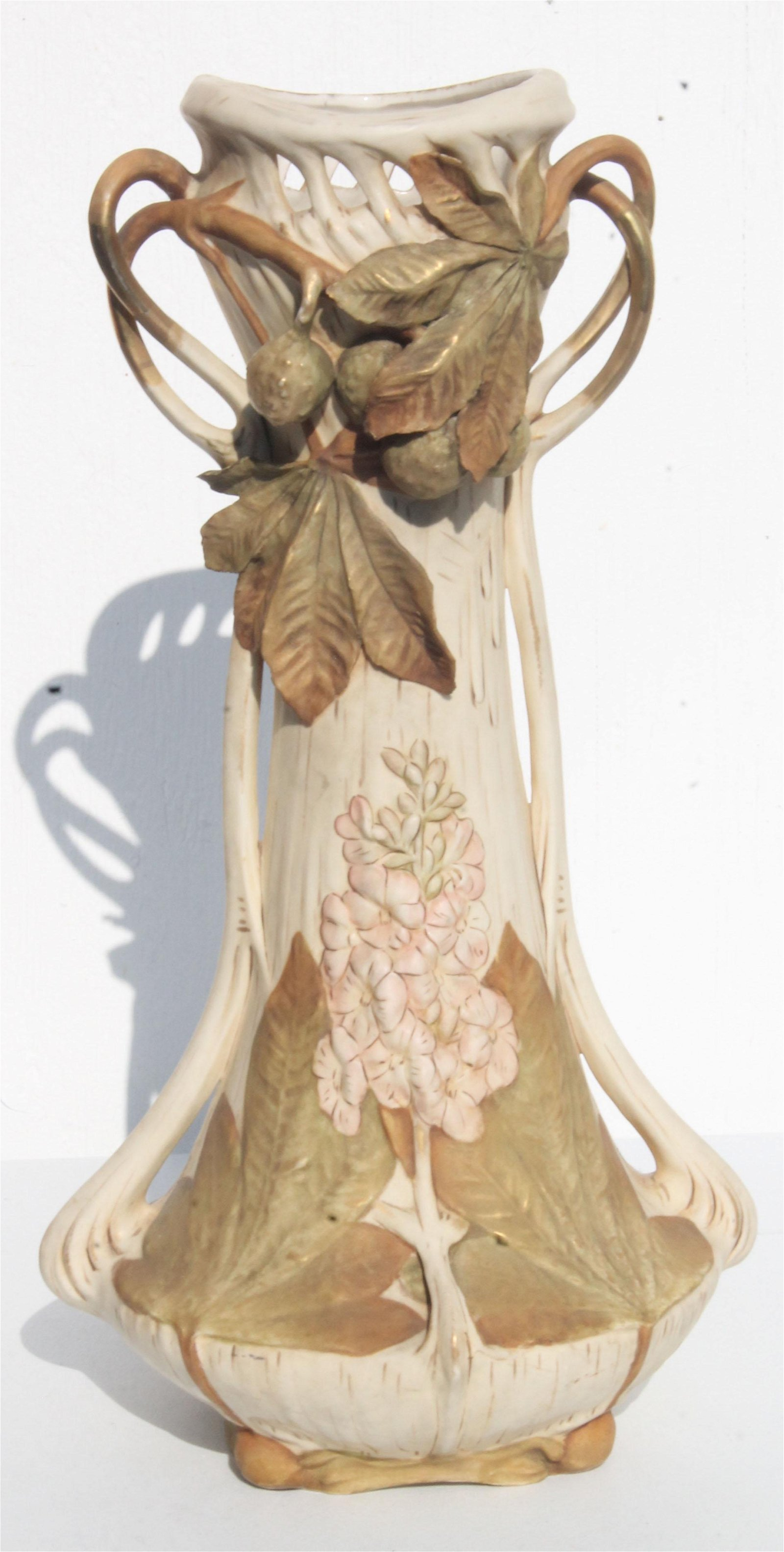 """Signed Royal Dux Bavarian Art Nouveau 20 1/2"""" vase"""