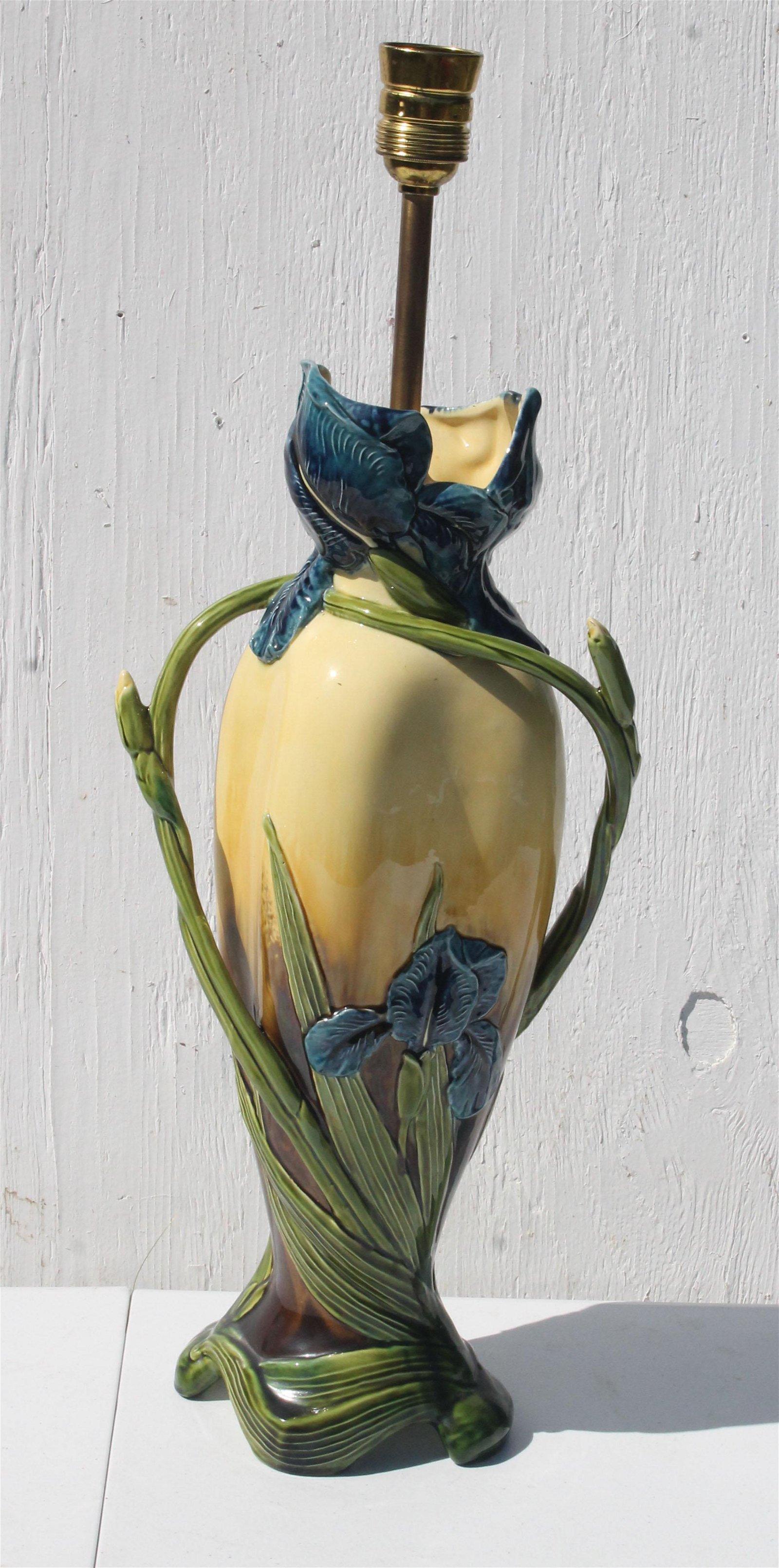 """Art Nouveau Irish pottery lamp - 19"""" tall"""