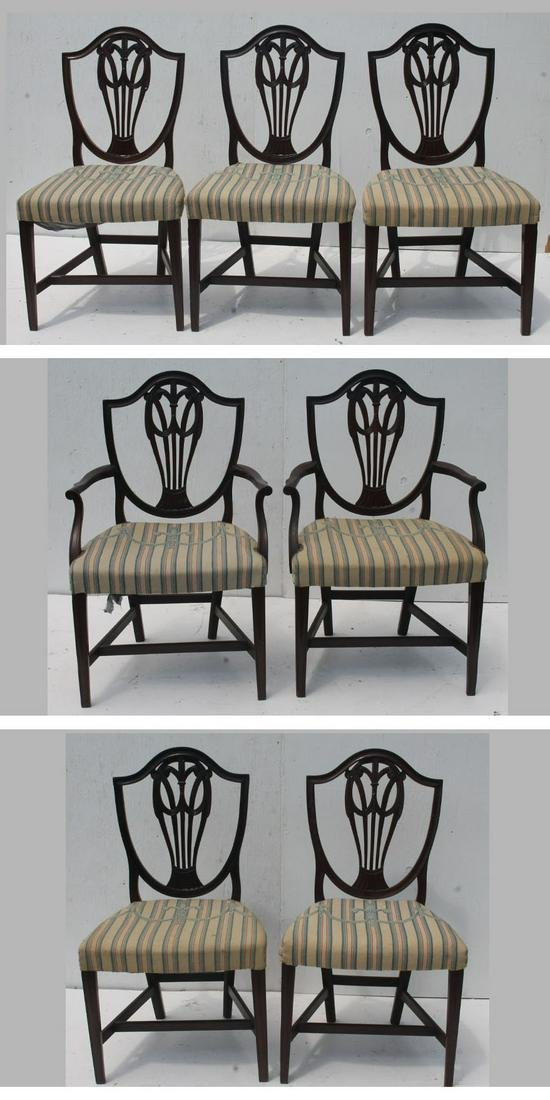 set of 7 Hepplewhite shieldback chairs including 2
