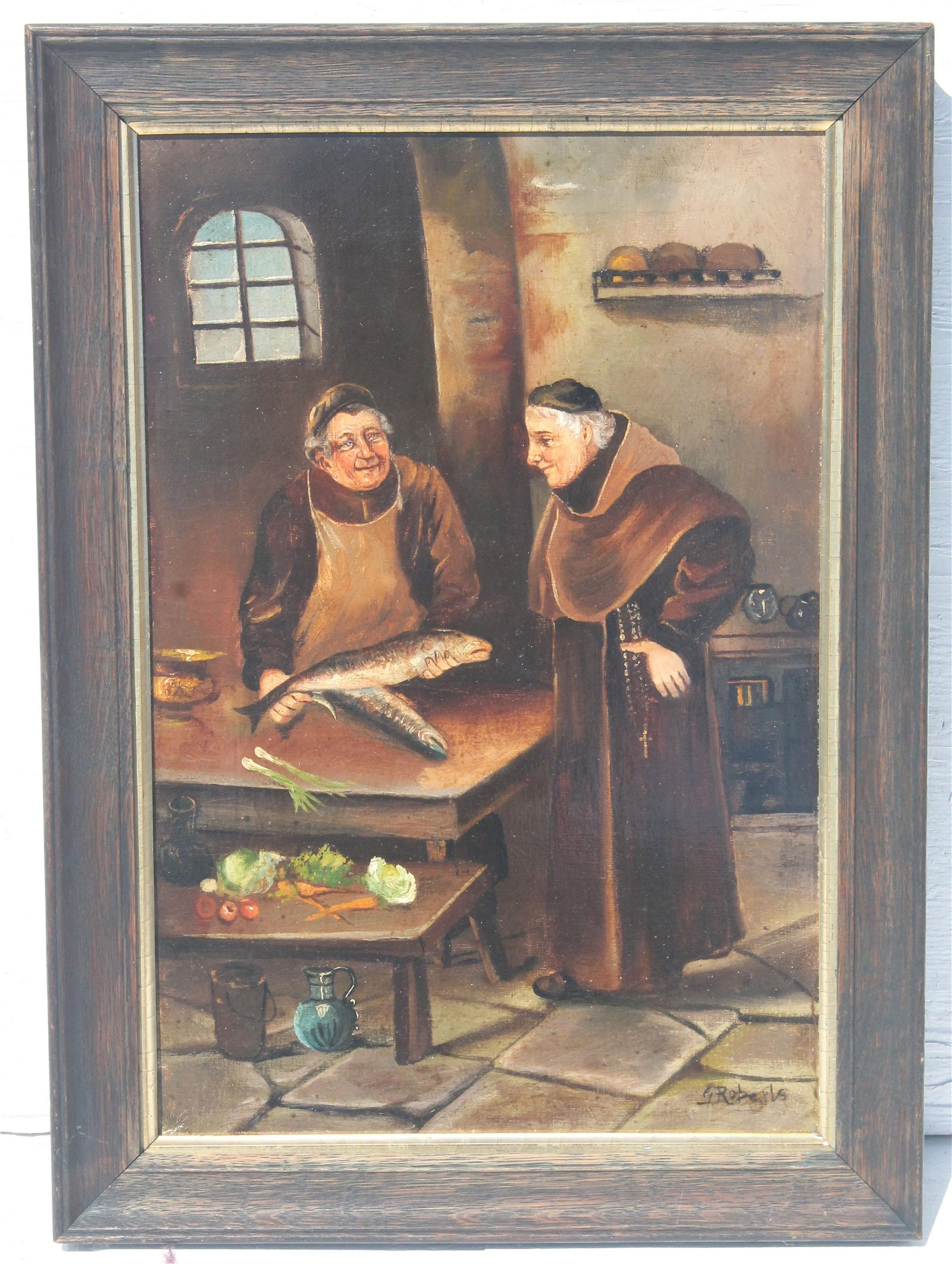 "signed G. Roberts 18""x12"" o/c of monks and fish"