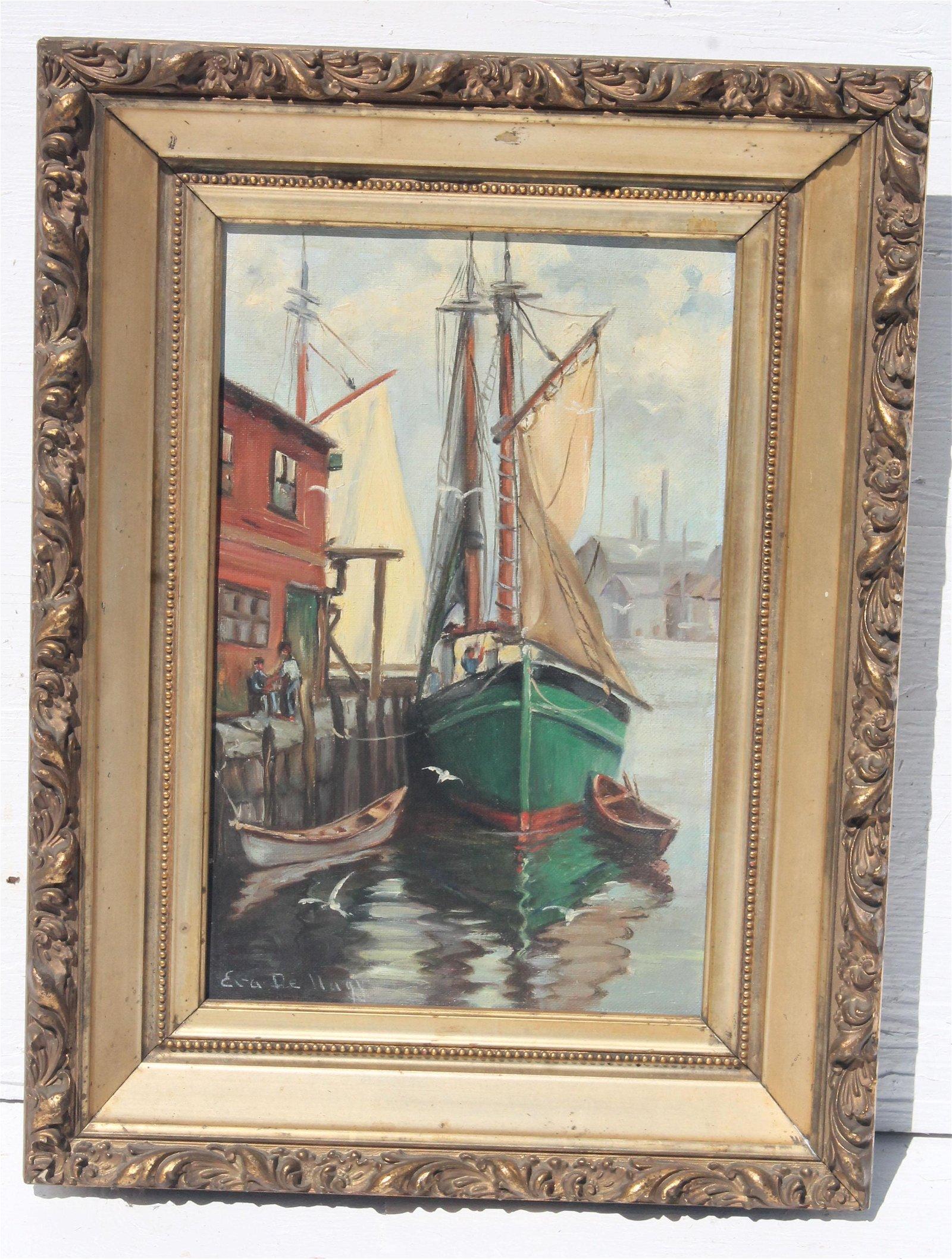 "antique 13""x9"" o/bd dock scene signed Eva DeHagy"