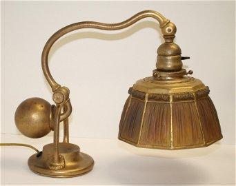 Fine Tiffany linen fold lamp shade on counter balance