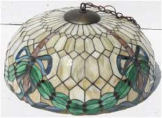 """large antique leaded glass 24"""" hanging light fixture"""