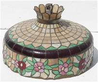large hanging antique leaded glass light fixture with