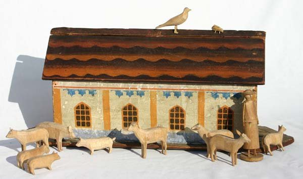 4: Early 19th C German Noah's Arc orig ptd w animals, e