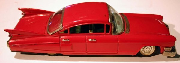 7: Japanese friction tin red cadillac ca 1959