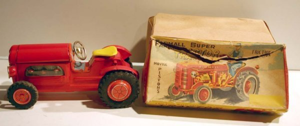 8: tin Farmall Super Tractor in orig box
