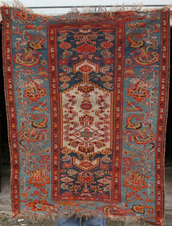 "16: 3'4"" x 4' 7"" antique area Oriental Rug"
