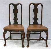 86 extremely rare pr of ca 1750 QA RI maple side chair