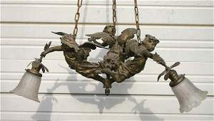 92 antique triple cherub figural chandelier w 3 Art Gl