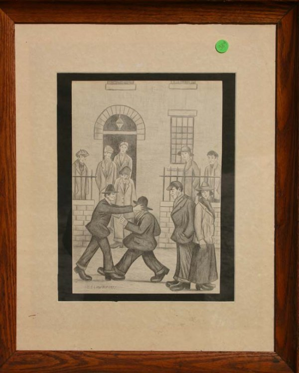 389: Laurence Stephen Lowry pencil drawing genre scene