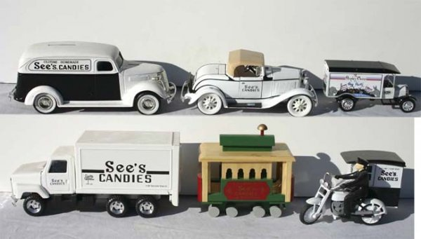 "4: lot of ""See's"" Candy vehicles incl 1 bank- 4  w box"