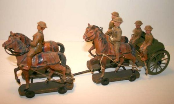 8: Elastolin Caisson w 4 horses & 3 riding soldiers 13""