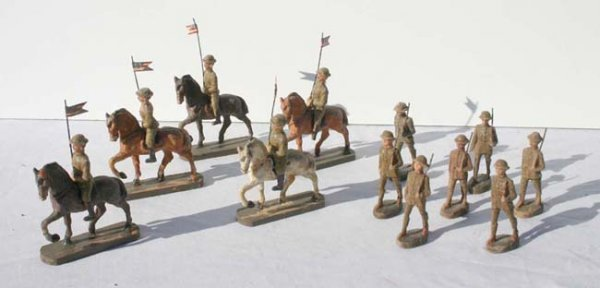 "9: Elastolin 7 marching 2 1/2"" soldiers & 5 horse rider"