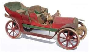 "465: Rare early tin 16"" long open touring car w wooden"