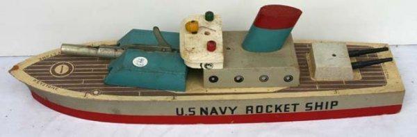 """595: US Navy Keystone wooden rocket ship 14"""""""
