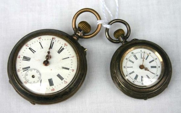 1014: 2 coin silver pocket watches