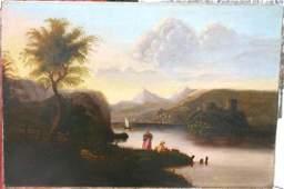 1137A: Exceptional 19thC unsgnd 21x31 o/c Hudson River