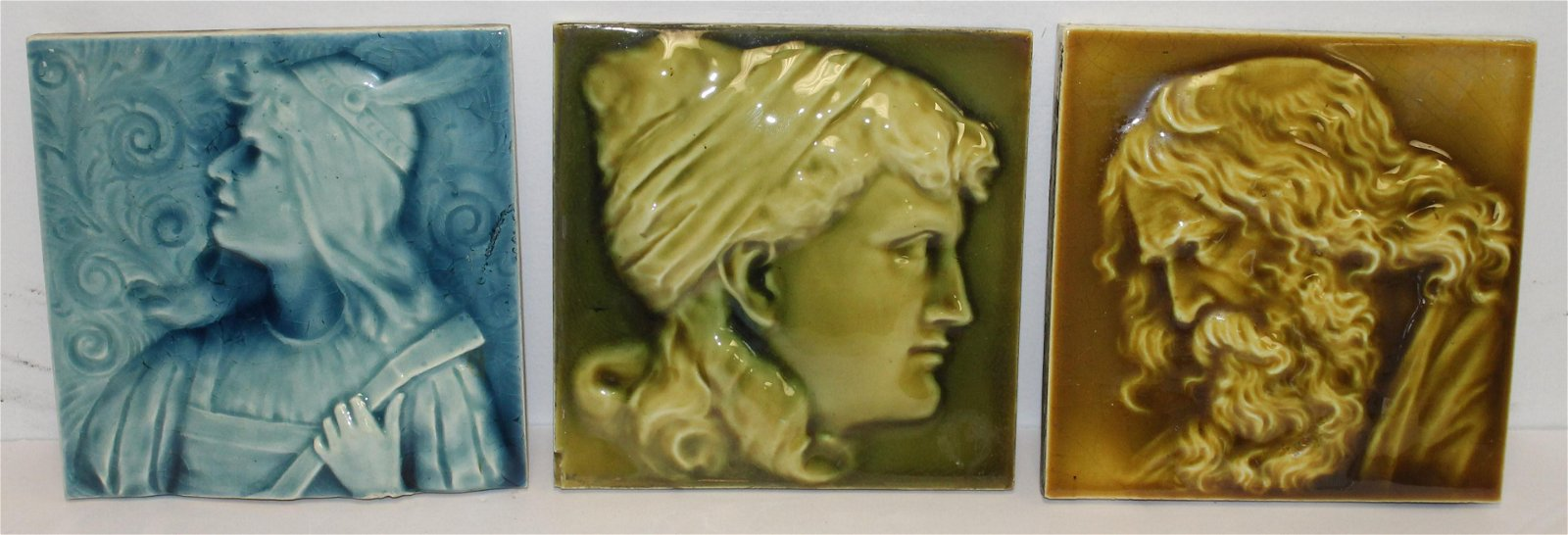 3 pottery tiles w figural decoration by The Art Tile