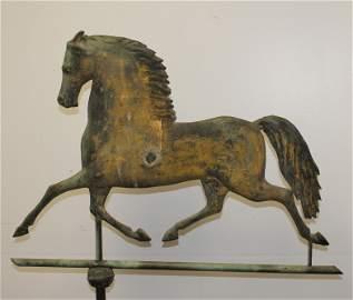 Wonderful antique copper Blackhawk horse weathervane in