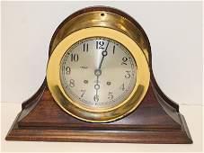 "Chelsea brass ship's bell clock in mahogany case - 14"""