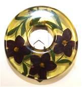 Vintage Bakelite reverse carved round lapel pin w