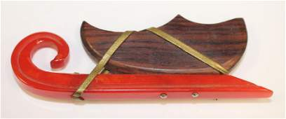 Vintage Bakelite  wood sleigh form pin w brass accents
