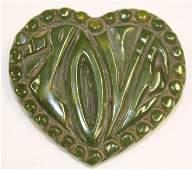Vintage Bakelite green heart form pin w Love carving