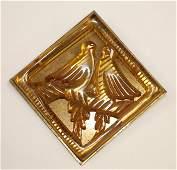 Vintage Bakelite pin w carved lovebird dec & brass back