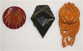 lot of 3 vintage Bakelite lapel pins incl 3 carved