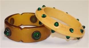 2 Vintage Bakelite bangle bracelets w applied green