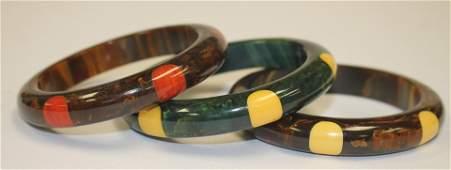3 Vintage Bakelite bangle bracelets w laminated yellow